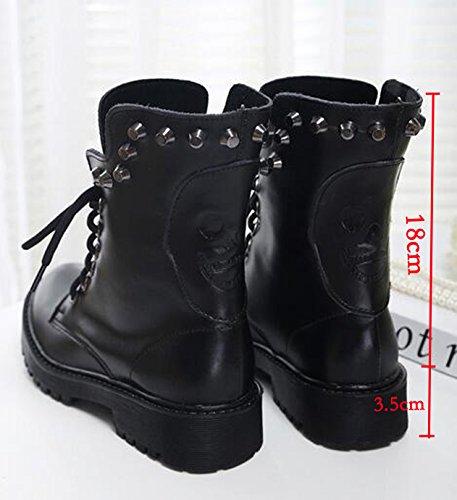 OALEEN Bottes Rangers Femme en Cuir Vrai Crâne Clous Lacets Chaussures Hiver Talon Bloc Chelsea Boots (Commandez une taille au dessus !!!) Noir superfibre 1rfZUWhhxz