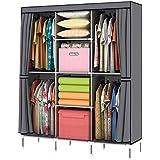 YOUUD Portable Clothes Closet Wardrobe Non Woven Fabric Storage Organizer  With Shelves Gray