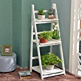 Wooden Staircase Flower Rack, Multi-Function, Foldable, Multi-Tier, Balcony Plant Stand ( Color : White )