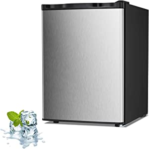 Joy Pebble Free Standing Upright Freezer with Removable Shelf, Adjustable Thermostat, Compact Reversible Single Door Vertical Freezers for Home/Hotel/Apartment/Office (Silver, 2.1 cu.ft)