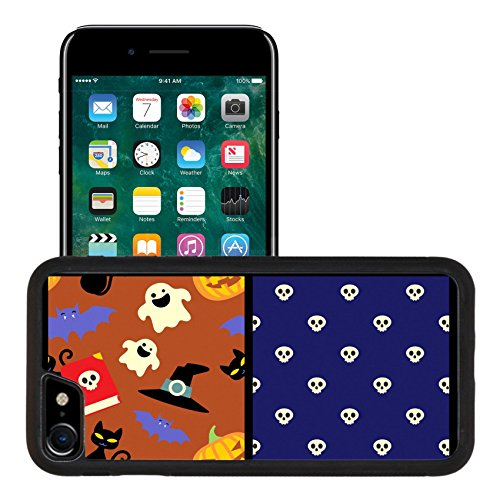 Luxlady Premium Apple iPhone 7 Aluminum Backplate Bumper Snap Case iPhone7 IMAGE ID: 31083451 Set of Halloween cute seamless patterns for scrap booking (Halloween Cat Iphone Wallpaper)
