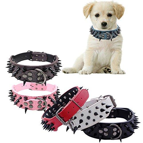 Glumes Pet Collar, Rivet Pet Collar Cat Dog Collar Safe Buckle Adjustable Strap for Dogs Cats Small -