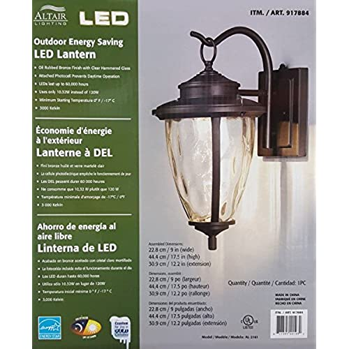 Led outdoor wall lights amazon altair energy saving led lantern oil rubbed bronze finish clear hammered glass aloadofball Gallery