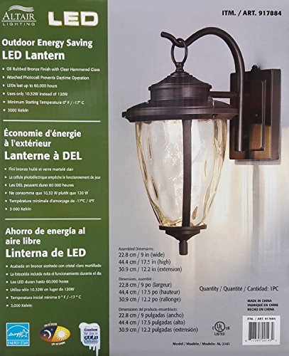 Altair Energy Saving LED Lantern - Oil Rubbed Bronze Finish Clear Hammered Glass - Rubbed Bronze Lantern