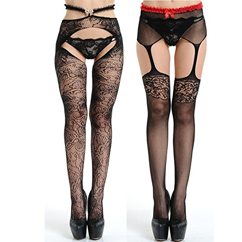 Lycra Mesh Thigh Highs (Womens Thigh-High Stockings Sexy Lace Garter Lingerie Tights Fishnet Free Size Black (Black1-5(2pairs)))
