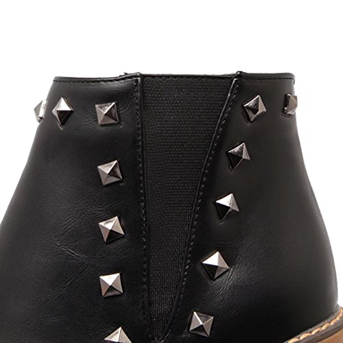 AIYOUMEI Womens Fashion Blockabsatz Bootie High Heel Zipper Solid Autumn Winter Ankle Boots with Rivets Black Ly0zc0