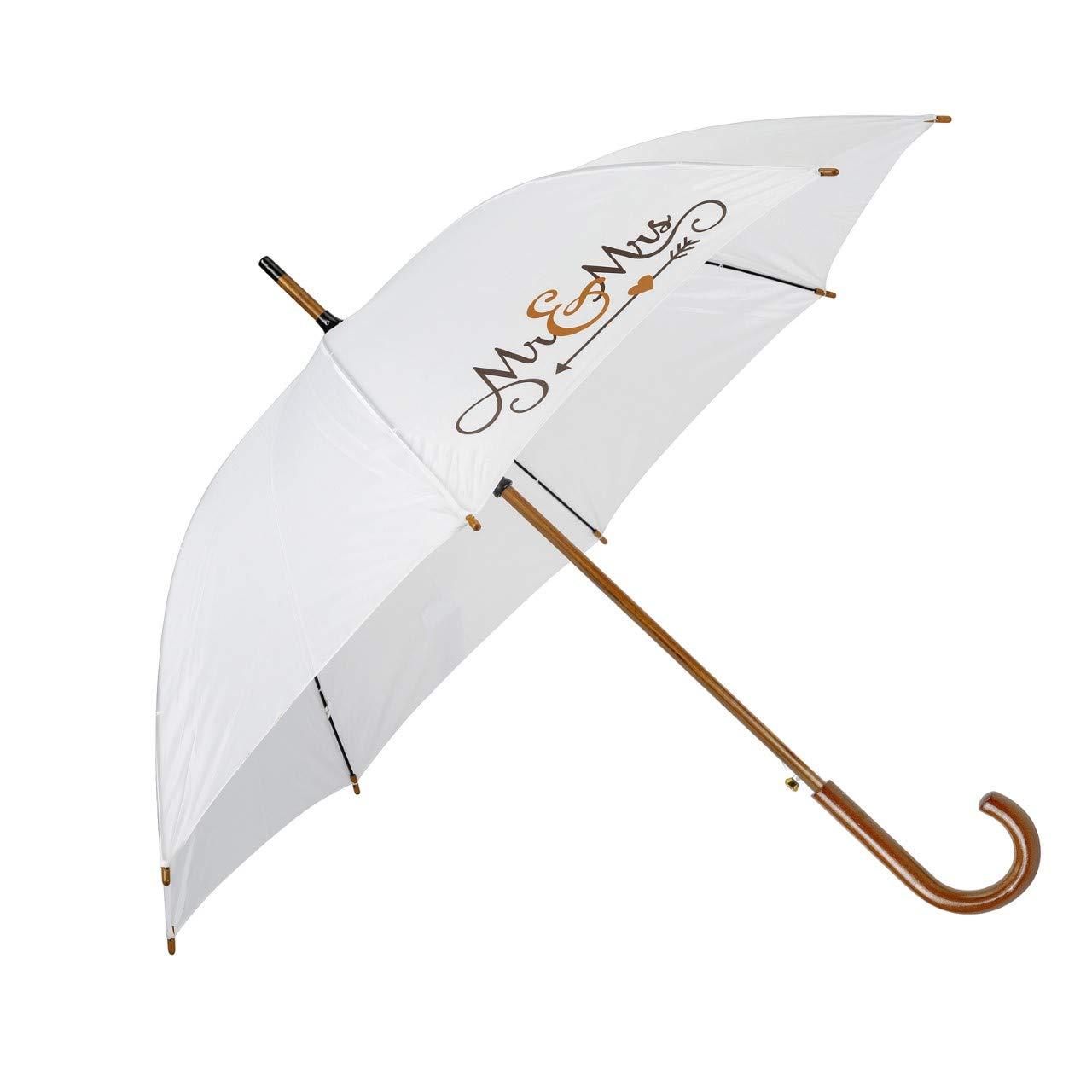 Mr Mrs Wedding Umbrella In White Traditional Wooden Umbrella