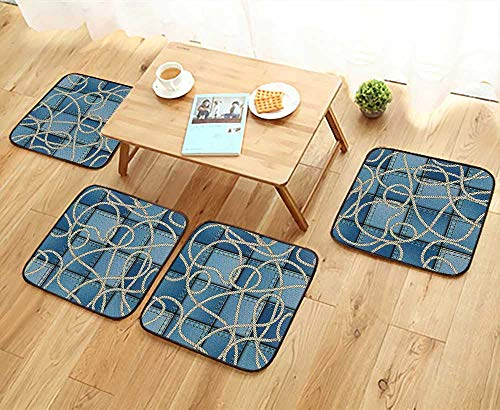 Leighhome Modern Chair Cushions Various Patches of Denim in Sea with Sailor Knot Rope on Foreground Image Convenient Safety and Hygiene W23.5 x L23.5/4PCS Set