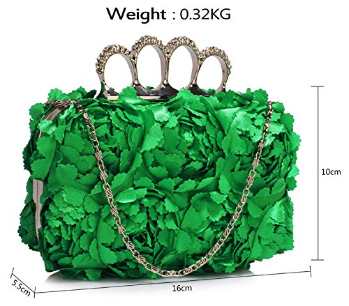 Clutch Design 1 With Box Bag Designer Green New Hardcase Look Chain Ladies Floral Handbag Evening p5O77