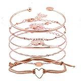 XOCARTIGE Layered Bracelet Set Assorted Beaded Bracelet Multiple Stackable Wrap Bangle Jewelry Adjustable (C Rose Gold)
