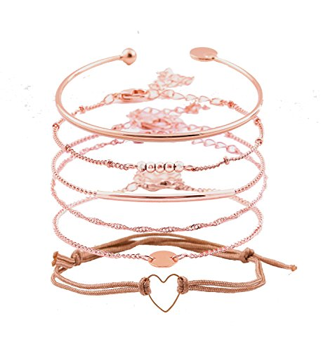 - XOCARTIGE Layered Bracelet Set Assorted Beaded Bracelet Multiple Stackable Wrap Bangle Jewelry Adjustable (C Rose Gold)