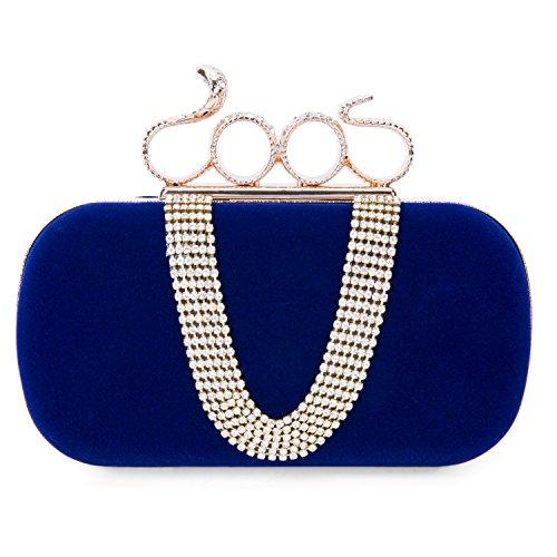CLOCOLOR Bolso de mano de terciopelo con diamantes cristales brillantes cartera de mano con asa en forma de serpiente estilo elegante bolso de fiesta para mujer, Azul Azul