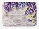 Ambesonne Rustic Bath Mat, Lilac Flowers Bouquet on Wood Table Spring Nature Romance Love Theme, Plush Bathroom Decor Mat with Non Slip Backing, 29.5 W X 17.5 W Inches, Lilac Violet Dark Taupe