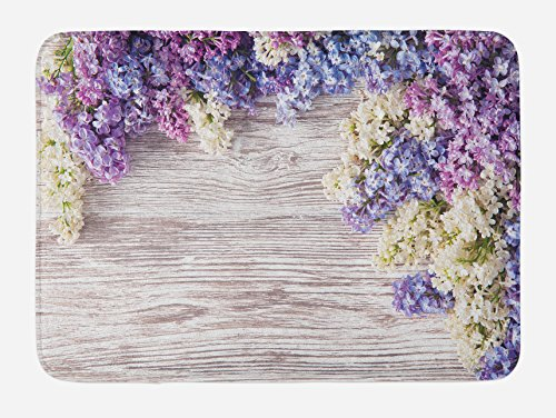 (Ambesonne Rustic Bath Mat, Lilac Flowers Bouquet on Wood Table Spring Nature Romance Love Theme, Plush Bathroom Decor Mat with Non Slip Backing, 29.5 W X 17.5 L Inches, Lilac)