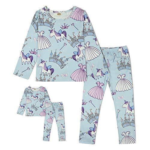 (ModaIOO Matching Dolls & Girls Pajamas Unicorn Castle Long Sleeve Sleepwear Set(8030,Castle,100) )
