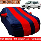 Autofact Car Body Cover for Maruti Alto Old Model (2000 to 2014) (Mirror Pocket , Premium Fabric , Triple Stiched , Fully Elastic , Red / Blue Color)