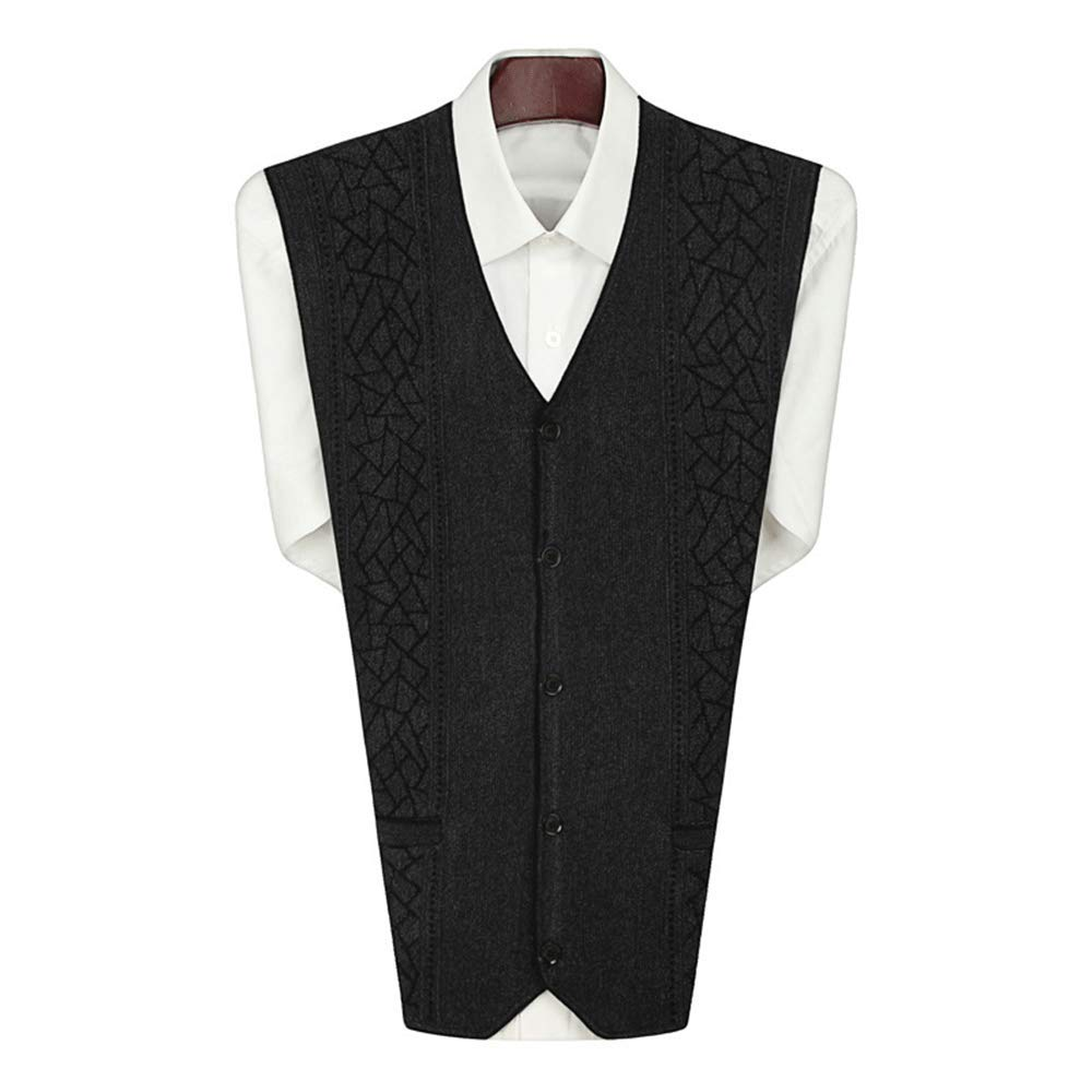 HIENAJ Mens V Neck Argyle Button-Front Vest Fitted Sleeveless Knit Sweater Tanktop