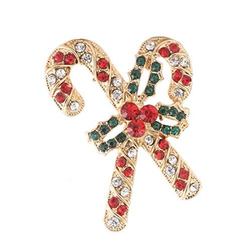 Holiday Pin Christmas (Boderier Holiday Christmas Cane Brooch Pin Shiny Clothing Decoration Brooches Xmas Gift (Cane))