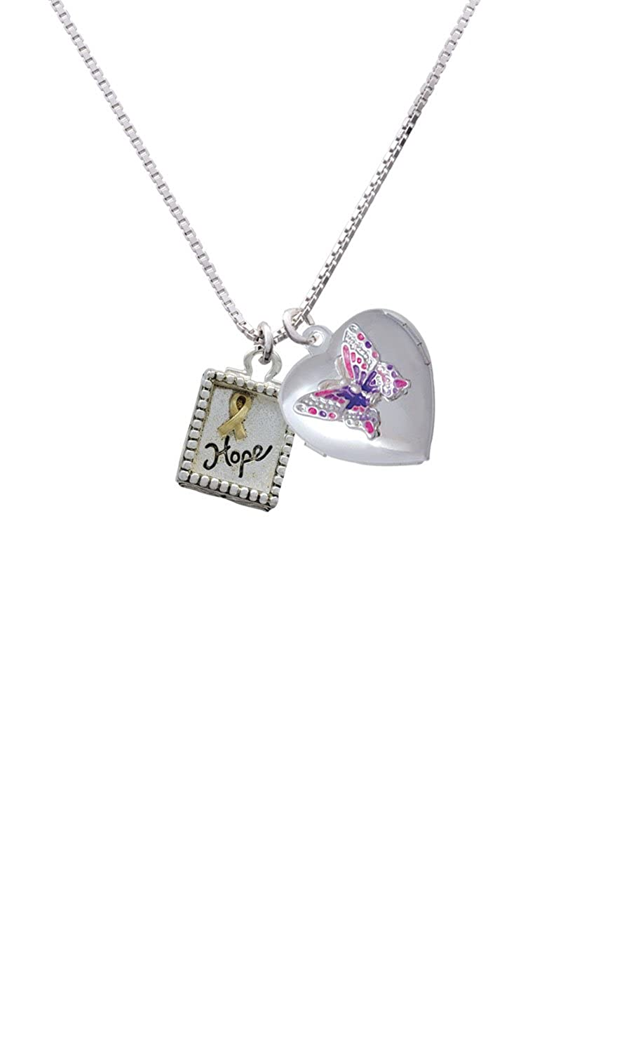 Inspirational Shadow Box You are more Loved Pink Butterfly Heart Locket Necklace