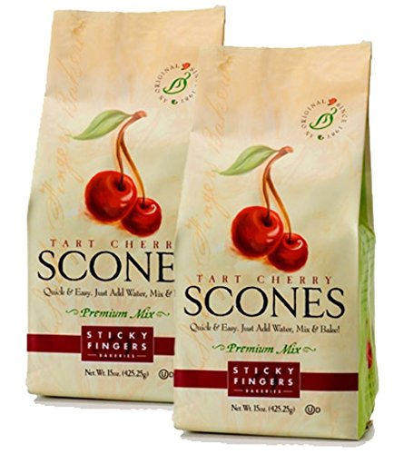 Sticky Fingers Scone Mix (Pack of 2) 15 Ounce Bags – All Natural Scone Baking Mix (Tart Cherry) - Cherry Scone