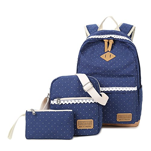 Gazigo Children Dot Printing Satchel Canvas Girls lace Backpack Casual Teens bookbag Daypack [ School Bags + Messenger Bag + Pencil Case] (Fashion Teenage)