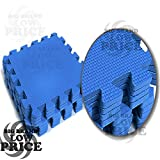FB FunkyBuys 10pcs Blue Soft Foam Interlocking EVA Mat 10SQ. FT Indoor Outdoor Floor Protective Mat Gym Kids Play Area Exercise 30 x 30 cm
