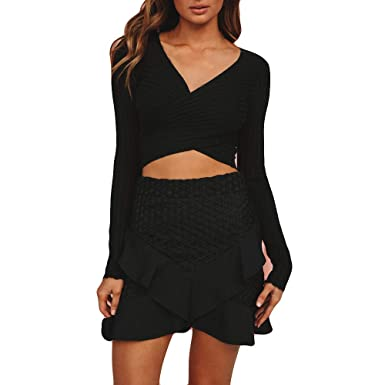 Sunhusing Womens Solid Color Halter Knitted Cross Deep V-Neck Long Sleeve Sweatshirt at Amazon Womens Clothing store: