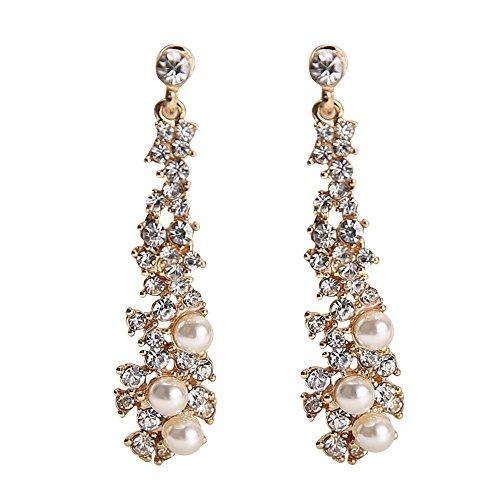 Gbell Women Fine Long Drop Diamond Pearl Gorgeous Earrings - Fashion Ear Dangle Studs Earrings Charm Jewelry for Girls Lady Wedding Party Date Engagement Prom Casual Wearing (Gold)