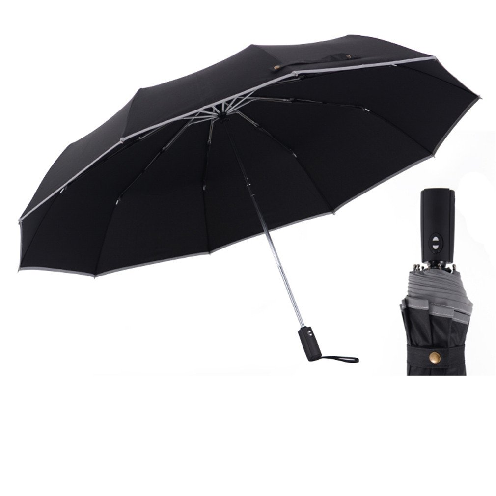 Guoke Fully Automatic Folding Umbrella Men'S Double, The Fine Rain Reinforced With Two Students Umbrellas,125Cm-10- Classic - Black