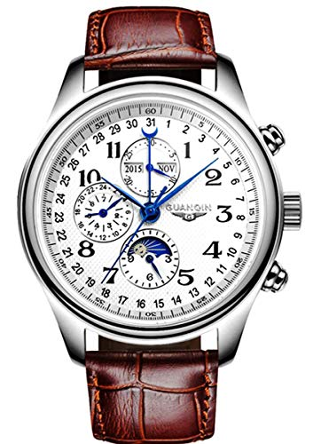 Luxury Stainless Steel Automatic Mechanical Watch Sapphire Waterproof Date Moon Phase Clock (White)