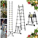 16.5FT Extension Telescopic A-Frame Ladder 16 Feet Multi-Purpose Aluminum Portable Ladder 330lb Loading EN131 Certified