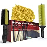 Car Wash Brush and Wheel Cleaner Kit – Includes Rim Cleaner Wheel Brush - Brake Dust Tire Brush and Microfiber Wash Mitt – Perfect Auto Detailing Supplies for Car - Truck and Motorcycle Enthusiasts