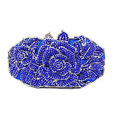 KYS Nupcial embrague rhinestone lujo floral tarde / evento / fiesta / cóctel / cena , black Blue