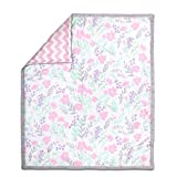 Pink and Mint Floral and Chevron 100% Cotton Baby Crib Quilt by The Peanut Shell