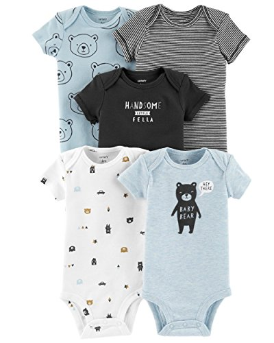 Carter's Baby Boys 5 Pack Bodysuit Set, Baby Bear, 24 Months