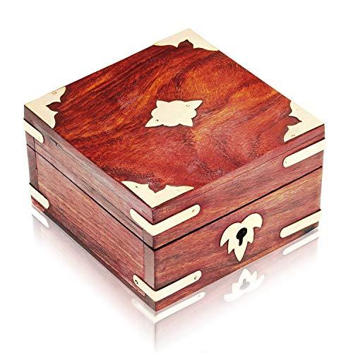 The Great Indian Bazaar Handmade Decorative Wooden Jewelry Box Jewelry Organizer Keepsake Box Treasure Chest Trinket Holder Lock Box Watch Box Storage Box 4 x 4 Inches for Women (Trinket Lock Small Box With)