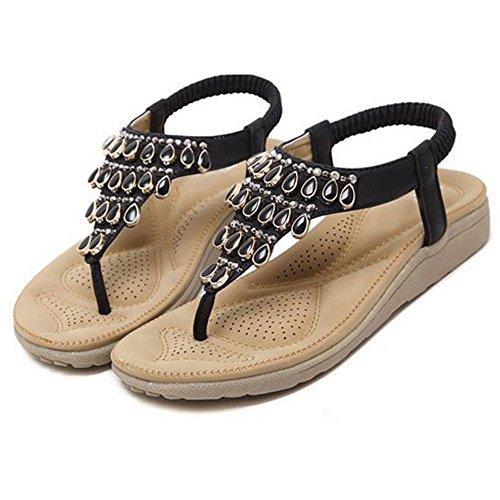 57 Black Clip JOJONUNU Confort Femmes Sandales Toe wUgnqBaf