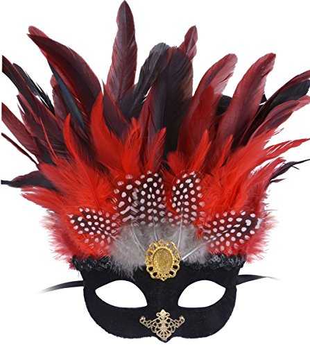 Feather Masquerade Mask Halloween Costumes Mardi Gras Party Mask Cosplay (Red Halloween Mask)