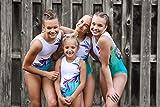 Gymnastics Leotards for Girls, Turquoise Flower
