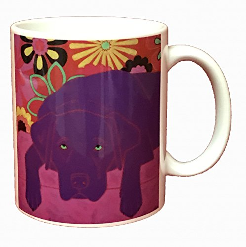 Chocolate Lab Mug, 11 oz Ceramic Dog Lover Coffee Cup by Angela Bond