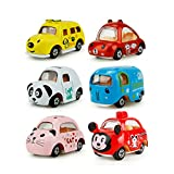 Miss.AJ 6 Pack Pull Back Vehicles, Assorted Mini Pull Back Cars, Alloy Die-cast Vehicles Playset , Carton Animal Mini Truck Toy, Pull Back and Go Car Toy Play Set for Kids, Toddler Party Favors
