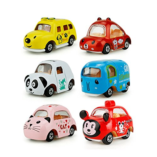 Miss.AJ 6 Pack Pull Back Vehicles, Assorted Mini Pull Back Cars, Alloy Die-cast Vehicles Playset , Carton Animal Mini Truck Toy, Pull Back and Go Car Toy Play Set for Kids, Toddler Party Favors by Miss.AJ