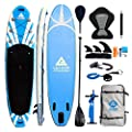 """Leader Accessoris 11'2"""" Inflatable Stand Up Paddle Board with Removable Fins(6"""" Thick) Includes Paddle,Pump,Footrest,Kayak Leash,SUP Leash,Kayak seat,Repair Kit,SUP Carrier and Travel Bag"""