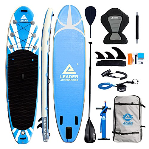 Leader Accessoris 11 2 Inflatable Stand Up Paddle Board with Removable Fins 6 Thick Includes Paddle,Pump,Footrest,Kayak Leash,SUP Leash,Kayak seat,Repair Kit,SUP Carrier and Travel Bag