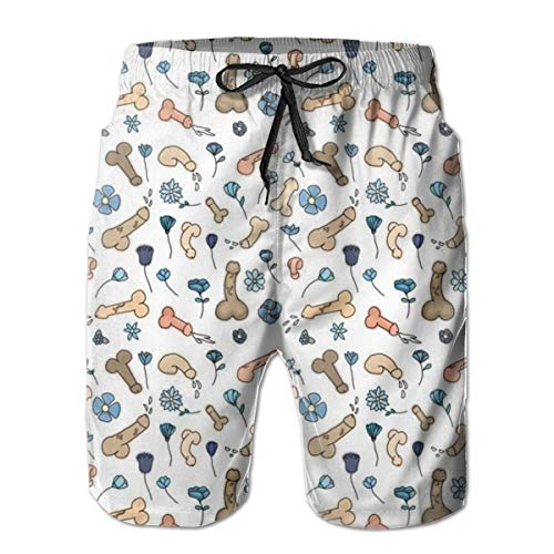 Penis Flower Printed Men's Beach Swimming Trunks Boxer Brief Swimsuit Swim Underwear Boardshorts with Pocket]()