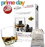 PRIME DEALS 2016 - THE Best Whiskey Stones Gift Set For Iceless Chill For Your Drink without Diluting or Watering Down - 9 Scotch Chilling Rocks - 100% Pure Soapstone Whisky & Bourbon Sipping Cubes