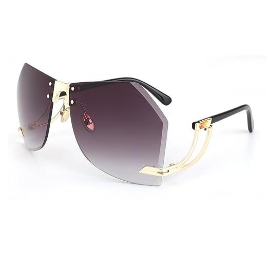 a6e42bb4862 ROYAL GIRL Designer Oversized Rimless Women Sunglasses Cutting Clear Lens  Fashion (C4 Gray Gradient