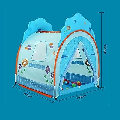 Tienda de juegos para niños Tienda de campaña Castle Princess House Patrón de flores de dibujos animados azul y rosa Interior y exterior Princess House Tiendas de campaña grandes y de playa