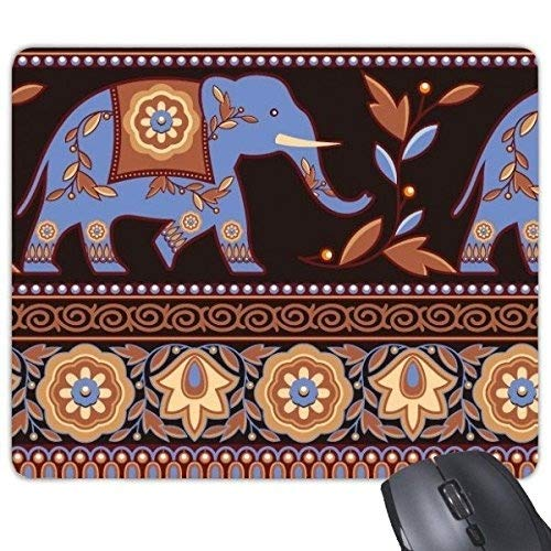 India Flavor Paisley Pattern and Elephant and Date Palm Retro Illustration Rectangle Non-Slip Rubber Mouse pad Game Mouse Pad -