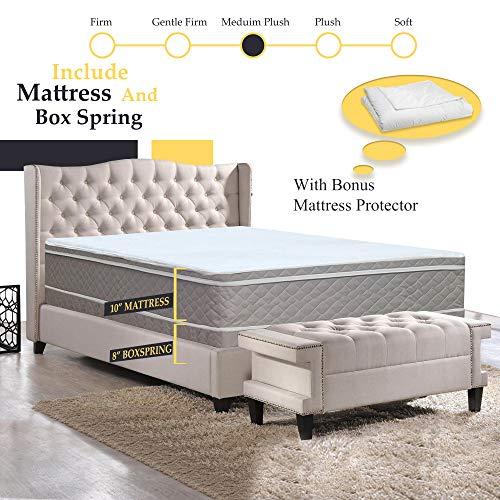 GREATON 10-Inch Meduim Plush Eurotop Pillowtop Innerspring Mattress And 8